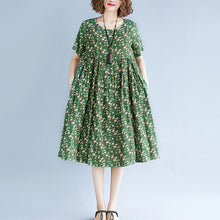 Load image into Gallery viewer, Fine green print cotton linen dress oversize short sleeve gown casual o neck baggy dresses cotton linen clothing dress
