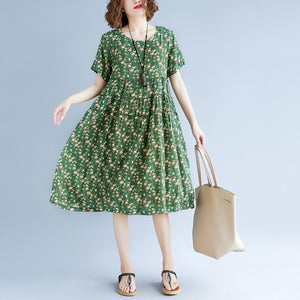 Fine green print cotton linen dress oversize short sleeve gown casual o neck baggy dresses cotton linen clothing dress