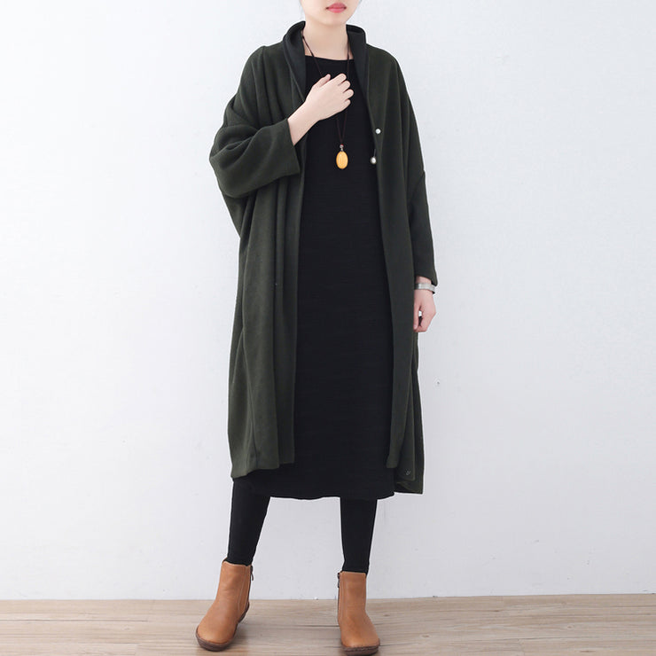 Fine green wool coats Loose fitting Winter coat women Winter coat