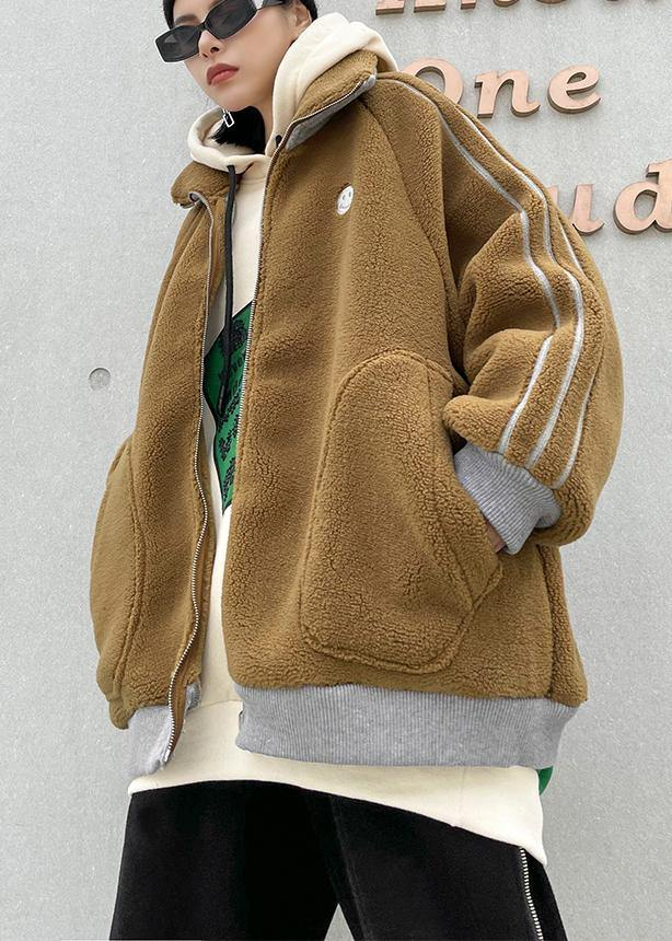 Fine khaki Wool winter jackets lapel zippered women coats
