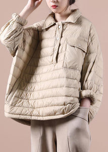 Fine khaki down coat trendy plus size snow jackets lapel pockets women winter outwear