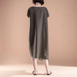 Fine linen cotton dress plus size clothing Short Sleeve High-low Hem Summer Casual Dress