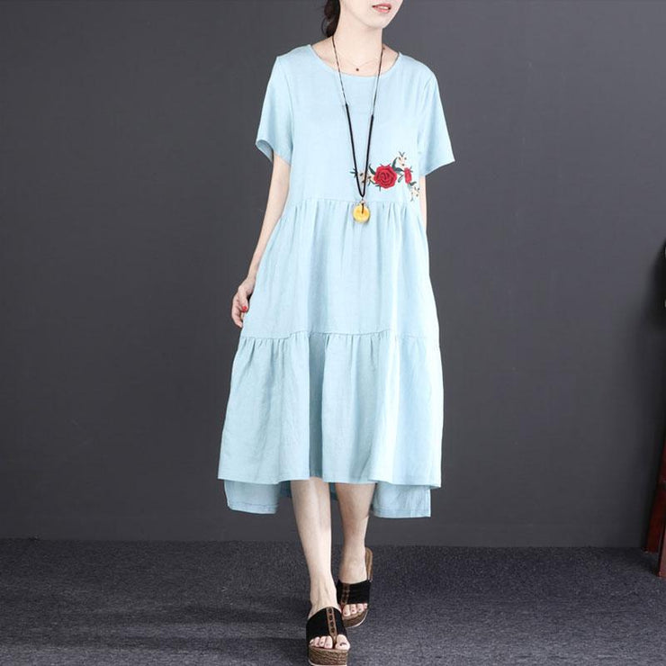 Fine linen dress oversized Short Sleeve Embroidered Flax Irregular Blue Dress