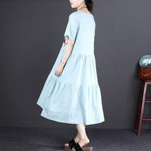 Load image into Gallery viewer, Fine linen dress oversized Short Sleeve Embroidered Flax Irregular Blue Dress