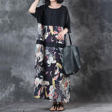 Load image into Gallery viewer, Fine linen summer dress stylish Retro Round Neck Splicing Flax Printed Short Sleeve Dress