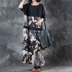 Fine linen summer dress stylish Retro Round Neck Splicing Flax Printed Short Sleeve Dress