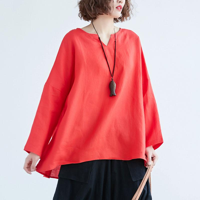 Fine linen tops Loose fitting Loose Irregular Long Sleeve Red Flax Women Tops
