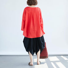 Load image into Gallery viewer, Fine linen tops Loose fitting Loose Irregular Long Sleeve Red Flax Women Tops
