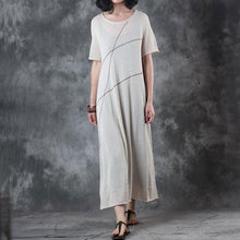 Load image into Gallery viewer, Fine long linen dresses trendy plus size Round Neck Knitting Short Sleeve Flax Dress