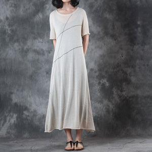 Fine long linen dresses trendy plus size Round Neck Knitting Short Sleeve Flax Dress