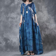 Load image into Gallery viewer, Fine maxi dresses fashion Retro Three Quarter Sleeve Printed Blue Long Dress
