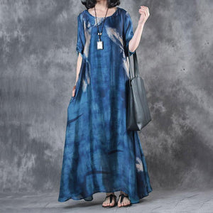 Fine maxi dresses fashion Retro Three Quarter Sleeve Printed Blue Long Dress