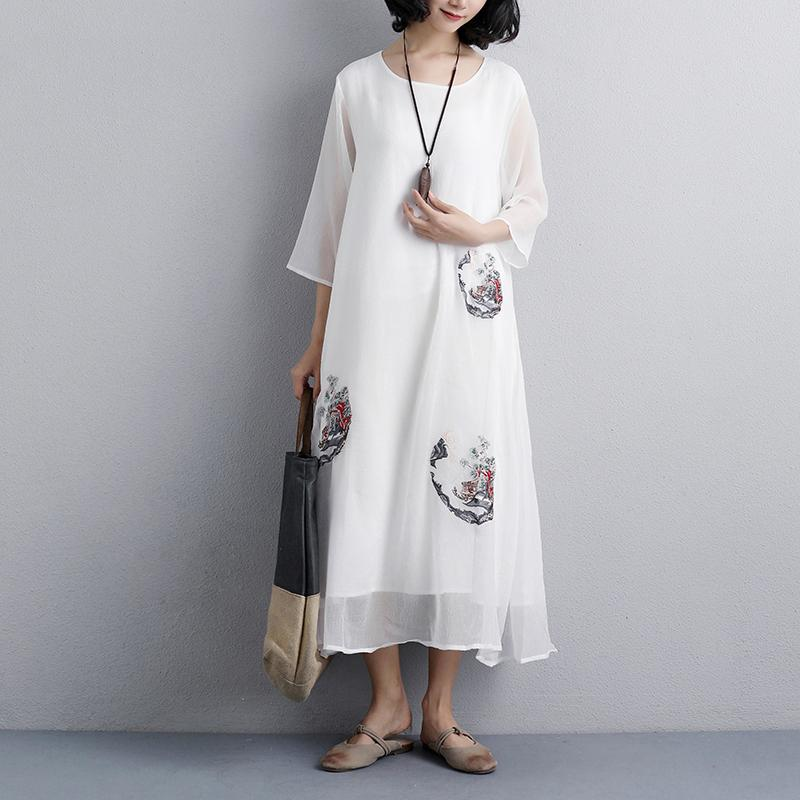 Fine natural dress  plus size Ethnic Women Embroidery Three Quarter Sleeve White Dress