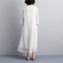 Load image into Gallery viewer, Fine natural dress  plus size Ethnic Women Embroidery Three Quarter Sleeve White Dress
