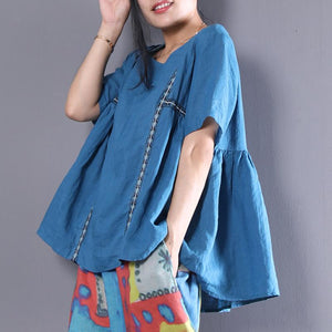 Fine natural linen t shirt plus size Linen Loose Short Sleeve Pullover Casual Embroidery Pleated Blouse