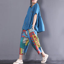 Load image into Gallery viewer, Fine natural linen t shirt plus size Linen Loose Short Sleeve Pullover Casual Embroidery Pleated Blouse