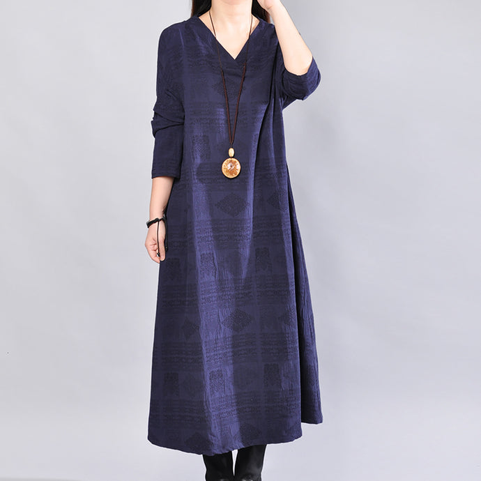 Fine navy linen dress oversize traveling dress casual back side open v neck cotton dress