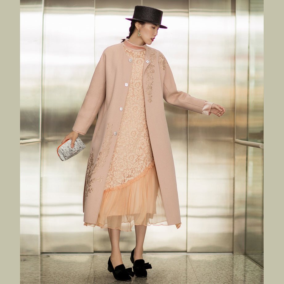 Fine nude pink Woolen Coats Women oversized long sleeve medium length jackets embroidery coats