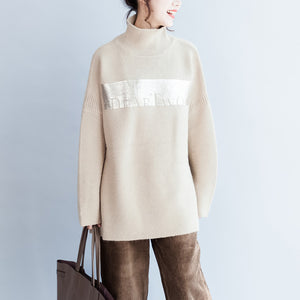 Fine nude warm sweaters oversized woman knit tops bust 180cm