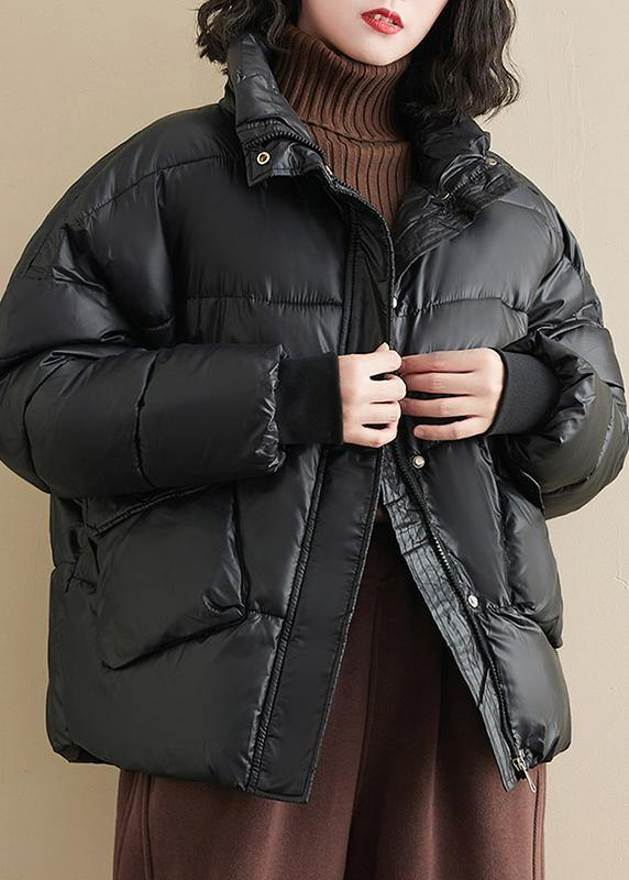 Fine oversize winter outwear black patchwork stand collar warm coat