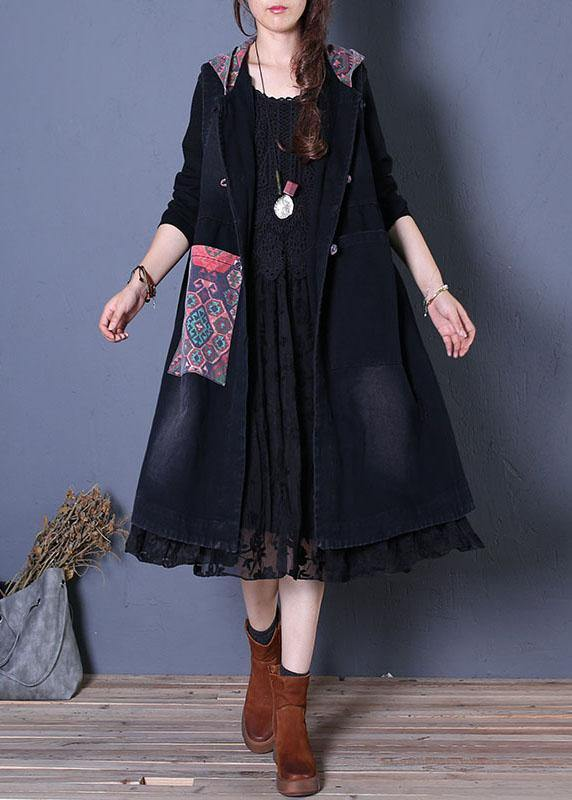 Fine oversized maxi coat fall black patchwork hooded coats