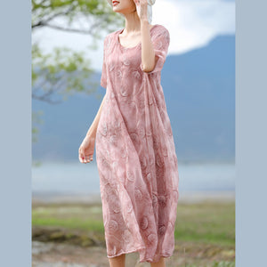 Fine pink embroidery silk cotton blended caftans casual O neck caftans New half sleeve baggy dresses