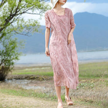 Load image into Gallery viewer, Fine pink embroidery silk cotton blended caftans casual O neck caftans New half sleeve baggy dresses