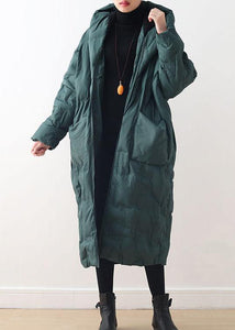 Fine plus size clothing winter jacket hooded coats green zippered down jacket woman