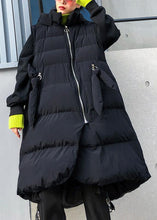 Load image into Gallery viewer, Fine plus size clothing winter jacket winter coats black hooded sleeveless Parkas for women