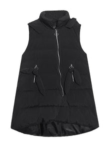 Fine plus size clothing winter jacket winter coats black hooded sleeveless Parkas for women