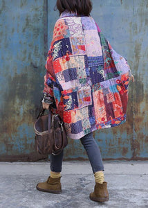 Fine plus size snow jackets prints overcoat patchwork color v neck womens coats