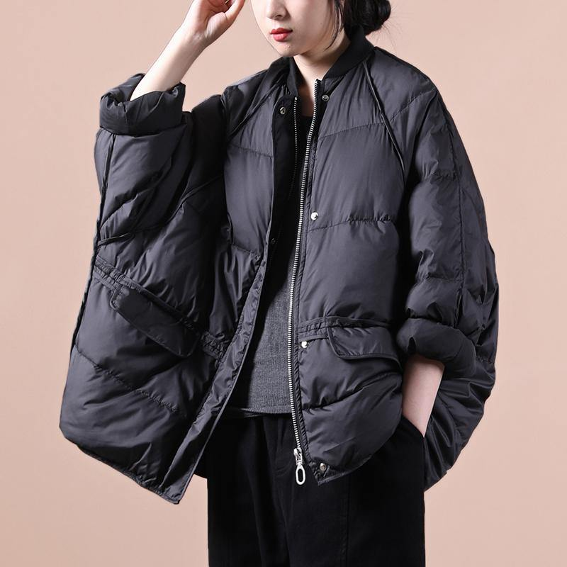 Fine plus size winter jacket winter outwear black pockets zippered warm winter coat