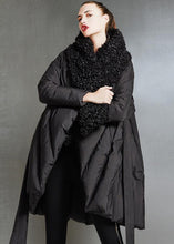 Load image into Gallery viewer, Fine plus size womens parka tie waist coats black fur collar goose Down coat