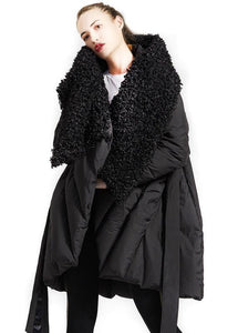 Fine plus size womens parka tie waist coats black fur collar goose Down coat