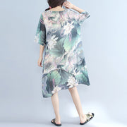Fine prints chiffon dress plussize chiffon maxi dress boutique half sleeve asymmetric hem clothing dress
