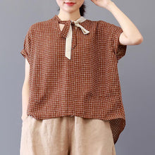 Load image into Gallery viewer, Fine pure cotton blouse plus size Loose Plaid Short Sleeve Lacing Women Summer Pleated Blouse