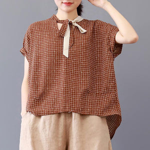 Fine pure cotton blouse plus size Loose Plaid Short Sleeve Lacing Women Summer Pleated Blouse