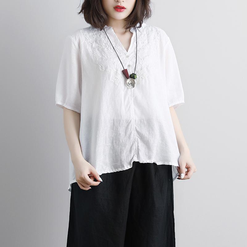 Fine pure linen blouse trendy plus size Retro Short Sleeve Embroidery High-low Hem Tops