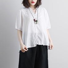 Load image into Gallery viewer, Fine pure linen blouse trendy plus size Retro Short Sleeve Embroidery High-low Hem Tops