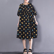 Fine pure linen dress oversize Loose Short Sleeve Dots Printed Black Pleated Dress