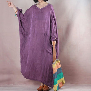 Fine purple long linen dresses oversize o neck asymmetrical design traveling clothing casual long sleeve baggy dresses