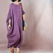 Load image into Gallery viewer, Fine purple long linen dresses oversize o neck asymmetrical design traveling clothing casual long sleeve baggy dresses