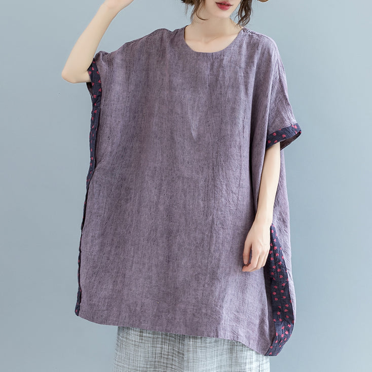 Fine purple pure linen tops Loose fitting casual cardigans boutique batwing sleeve O neck patchwork cotton clothing