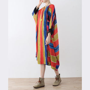 Fine rainbow natural linen dress  oversize striped traveling dress Elegant asymmetrical kaftans
