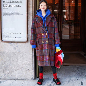 Fine red blue Plaid coats plus size Notched trench coat New double breasted Wool Coat