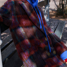 Load image into Gallery viewer, Fine red blue Plaid coats plus size Notched trench coat New double breasted Wool Coat