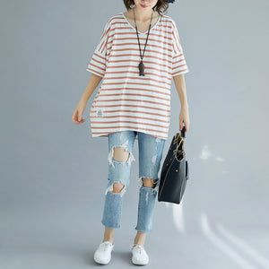 Fine red cotton blouse oversized holiday tops top quality striped v neck cotton tops