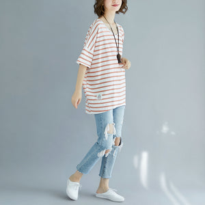 Fine red cotton blouse oversized holiday tops fine striped v neck cotton tops