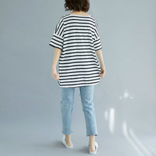 Load image into Gallery viewer, Fine red cotton blouse oversized holiday tops fine striped v neck cotton tops