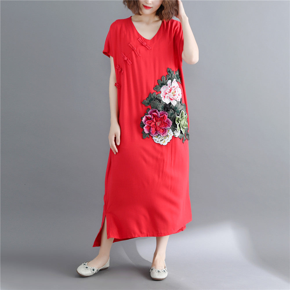Fine red cotton linen maxi dress casual short sleeve Embroidery cotton dresses top quality v neck traveling clothing